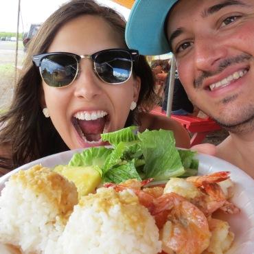 Delícia o camarão do Kahuku Shrimps